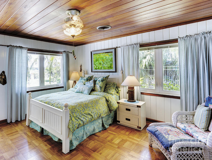 Armchair Photograph - Bedroom With A Wood Ceiling by Skip Nall