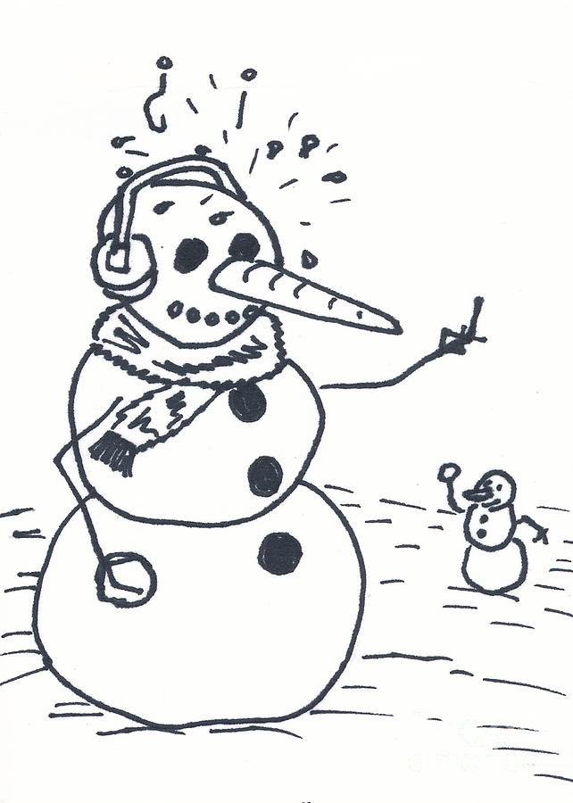 Snowman Drawing - Beep You by Michael Mooney