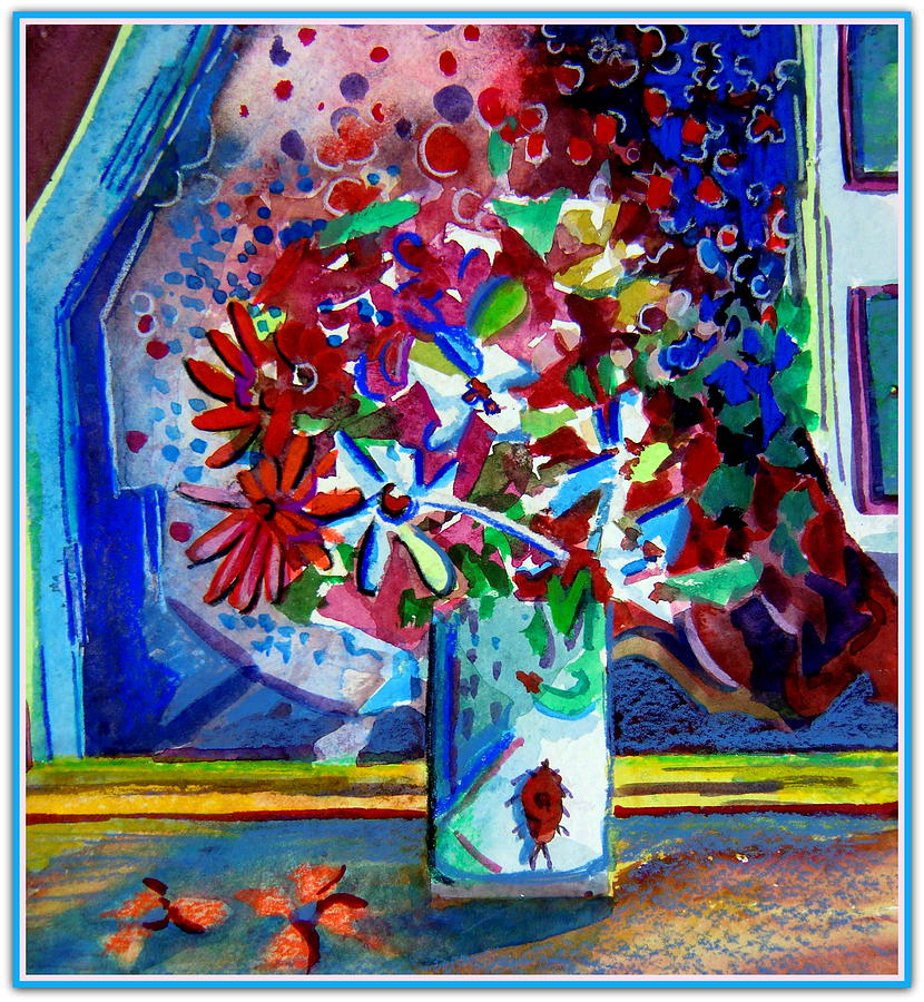 Still Life Painting - Beetle And Flowers by Mindy Newman