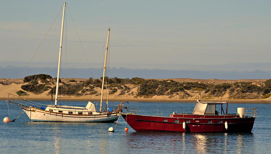 Boats Moored In Harbor Photograph - Before Sundown by Fraida Gutovich