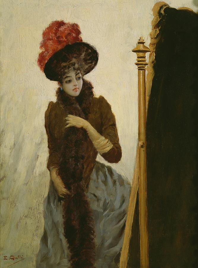 Female; Portrait; Standing; Three-quarter Length; Feathered; Hat; Feather; Feathers; Fashion; Fashionable; Stylish; Looking; Cheval Glass; Belle Epoque; Portraits Painting - Before The Swing Mirror by Emile Galle