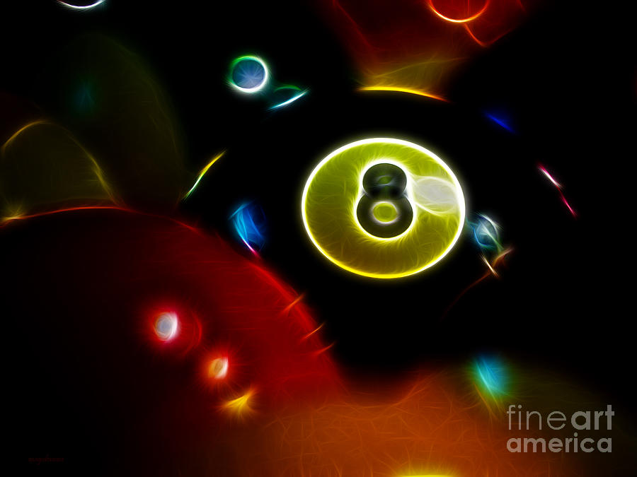 Billiard Photograph - Behind The Eight Ball - Electric Art by Wingsdomain Art and Photography