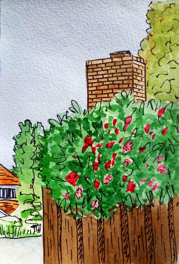 Chimney Painting - Behind The Fence Sketchbook Project Down My Street by Irina Sztukowski
