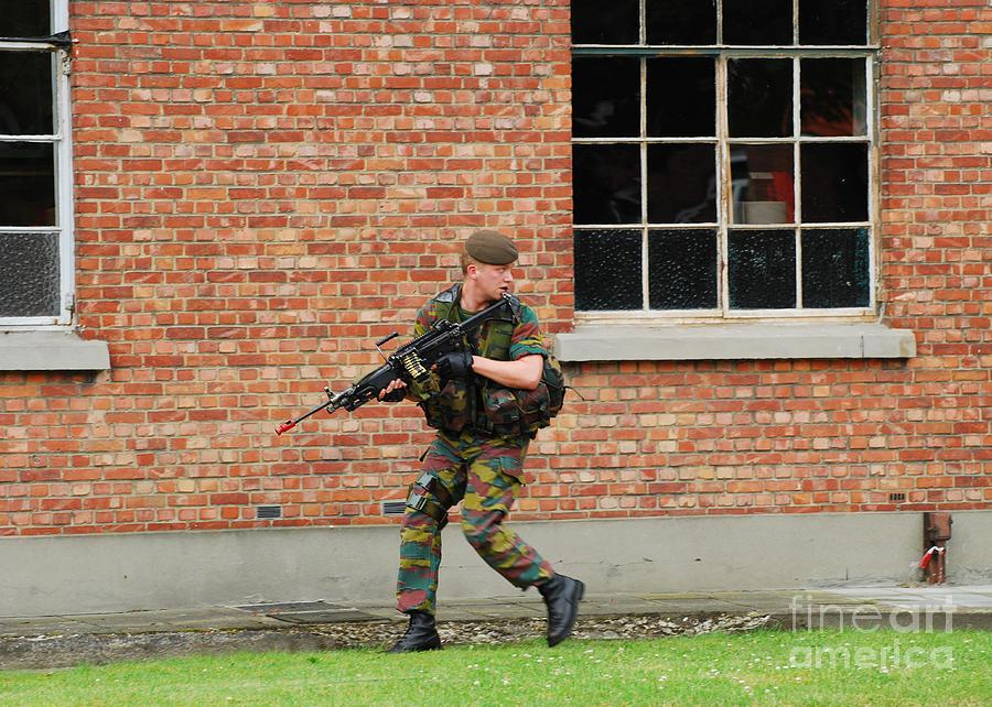 Armed Forces Photograph - Belgian Infantrists Under Attack by Luc De Jaeger