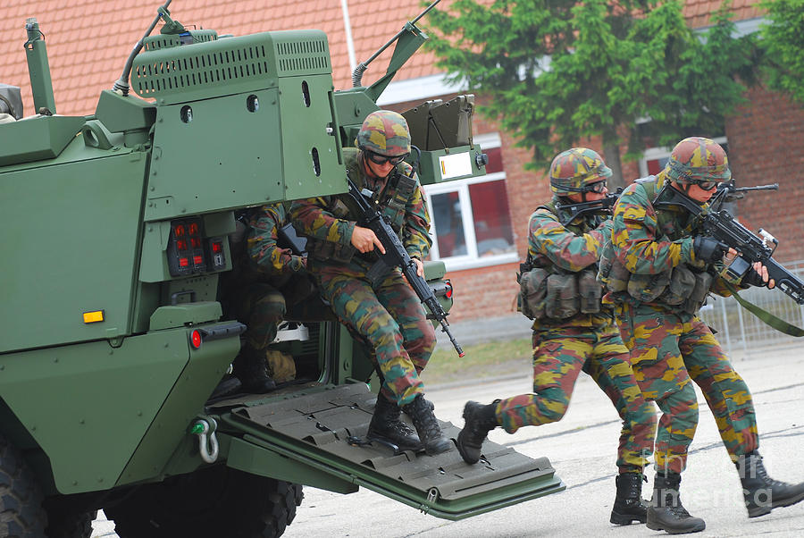 Piranha Photograph - Belgian Infantry Soldiers Exit by Luc De Jaeger