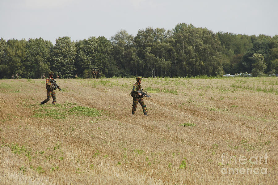 Armed Forces Photograph - Belgian Paratroopers Proceeding by Luc De Jaeger