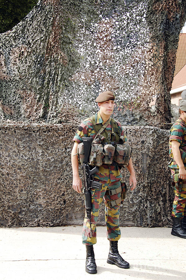 5.56mm Photograph - Belgian Soldier On Guard by Luc De Jaeger
