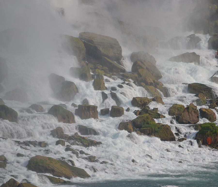 Rocks Photograph - Below The Waterfall by Naomi Berhane
