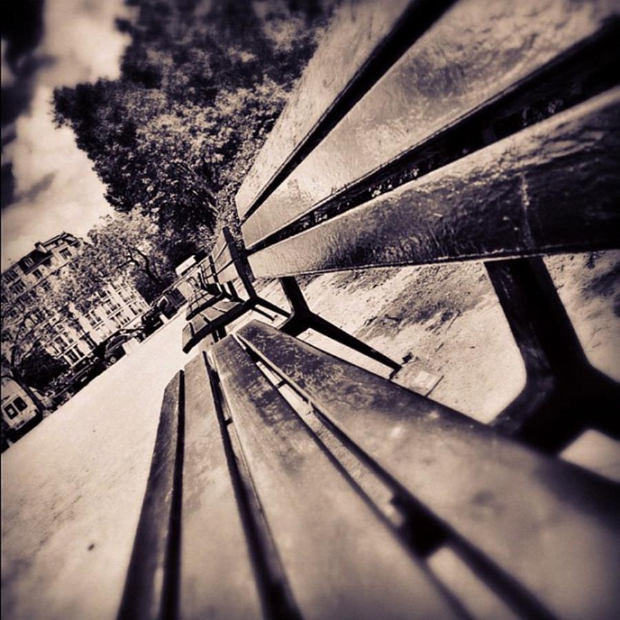 Monotone Photograph - #bench #park #monotone #sepia by Ritchie Garrod