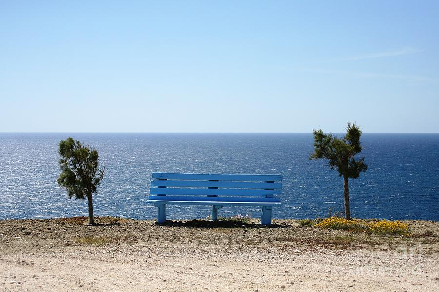 Blue Photograph - Bench With A View by Phoenix Michael  Davis