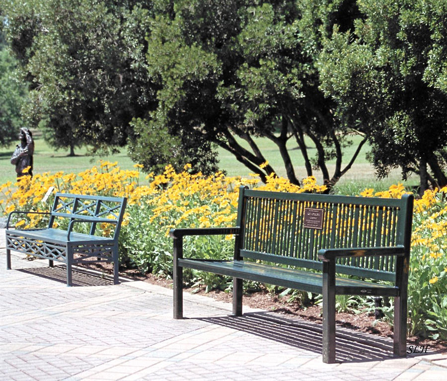 Brick Photograph - Benches  by Lee Hartsell
