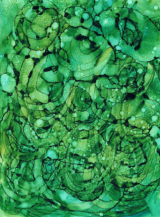 Alcohol Inks Painting - Beneath The Emerald City by Christine Crawford