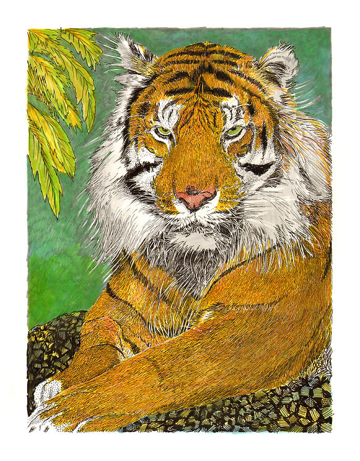 Bengal Tiger With Green Eyes Painting by Jack Pumphrey