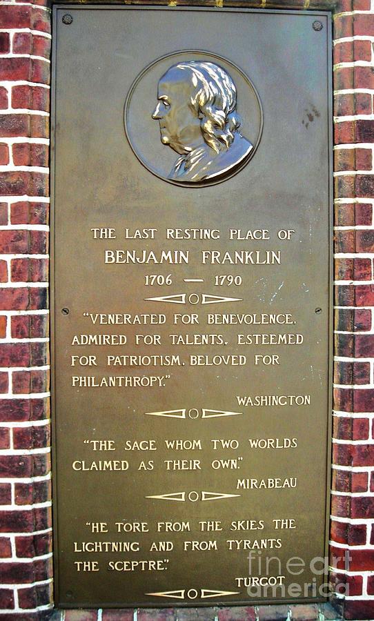 Benjamin Franklin Photograph - Benjamin Franklin Marker by Snapshot Studio
