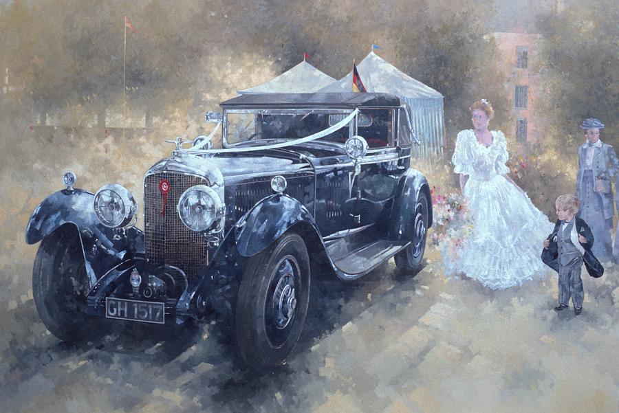Bentley Painting - Bentley And Bride  by Peter Miller