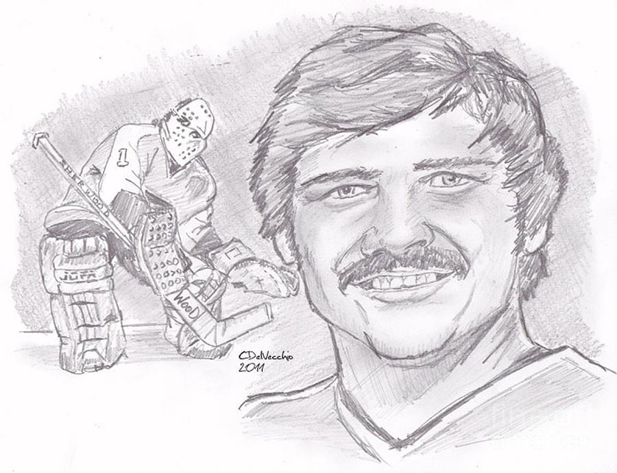 Flyers Drawing - Bernie Parent by Chris  DelVecchio
