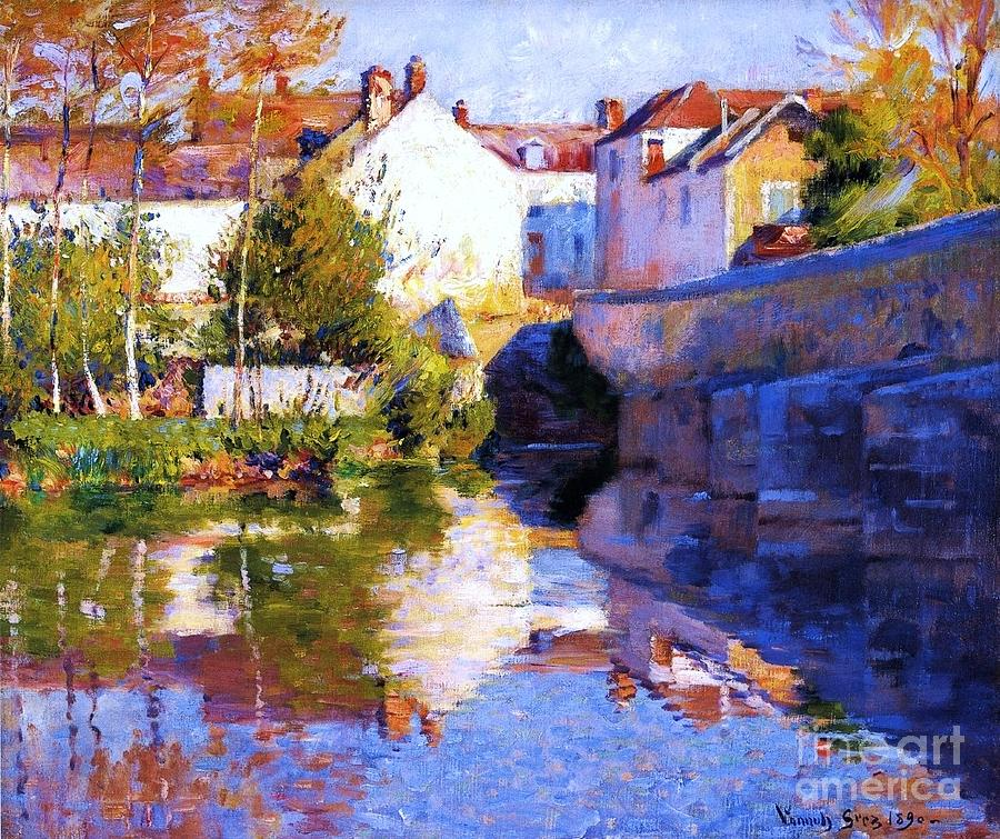 Pd Painting - Beside The River - Grez by Pg Reproductions