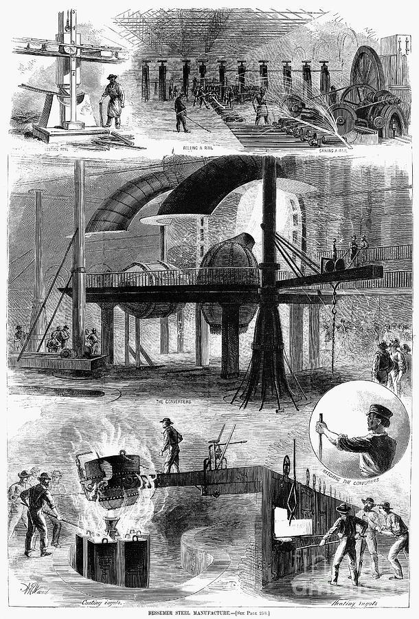 1876 Photograph - Bessemer Steel, 1876 by Granger