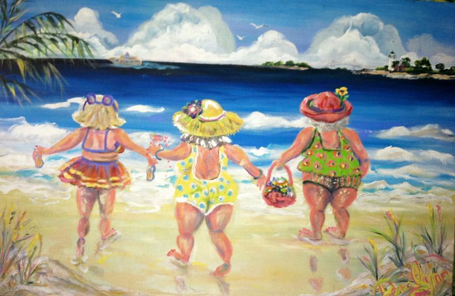 Beach Painting - Best Friends by Doralynn Lowe