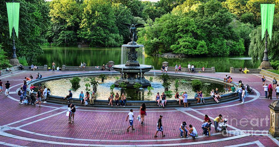 Bethesda Fountain Photograph - Bethesda Fountain Overlooking Central Park Pond by Paul Ward
