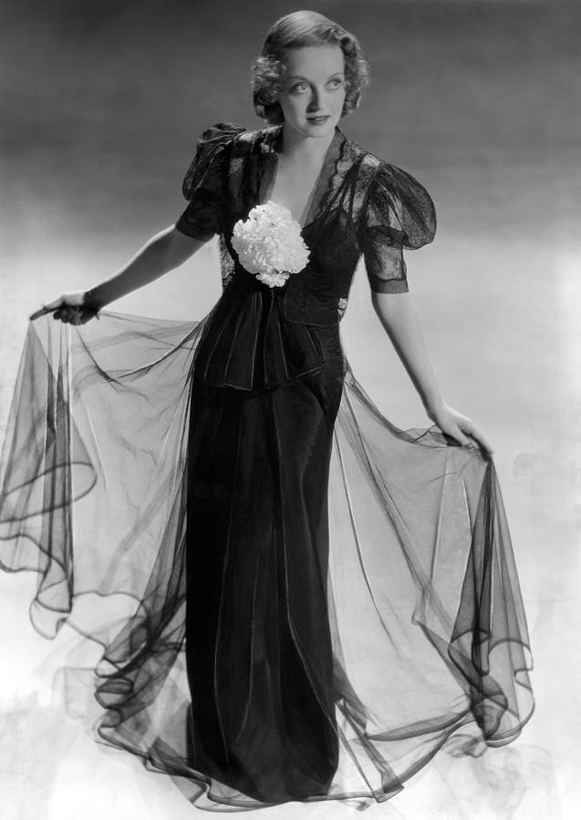 1930s Fashion Photograph - Bette Davis Wearing Black Taffeta Gown by Everett