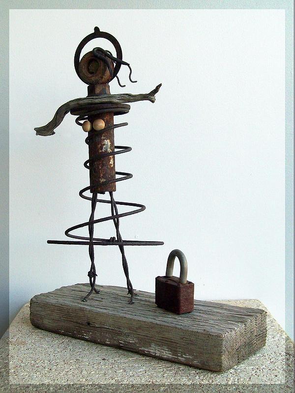 Metal Sculpture - Bettys New Purse by Snake Jagger