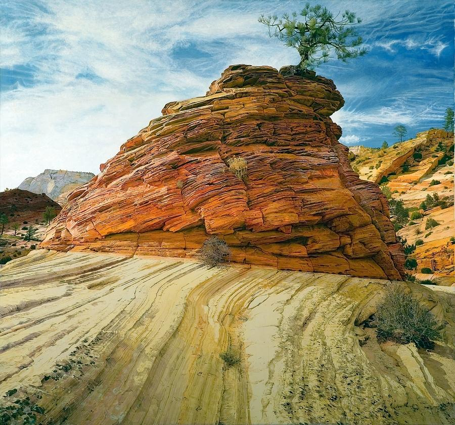 Landscape Painting - Between A Rock And A Soft Place by Robert Keller