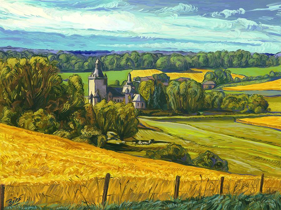 Kasteel Beusdael Sippenaeken Belgium Briex Landscape Impressionism Painting - Beusdael Castle Sippenaeken by Nop Briex