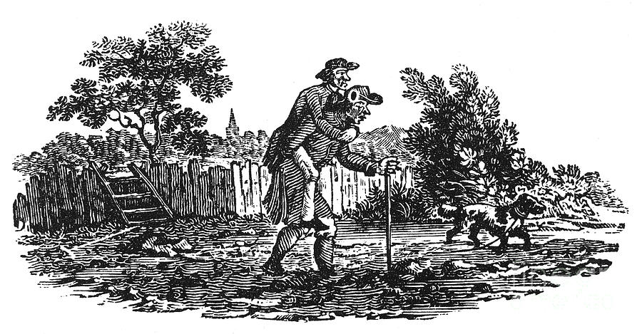 19th Century Photograph - Bewick: Man Carrying Man by Granger