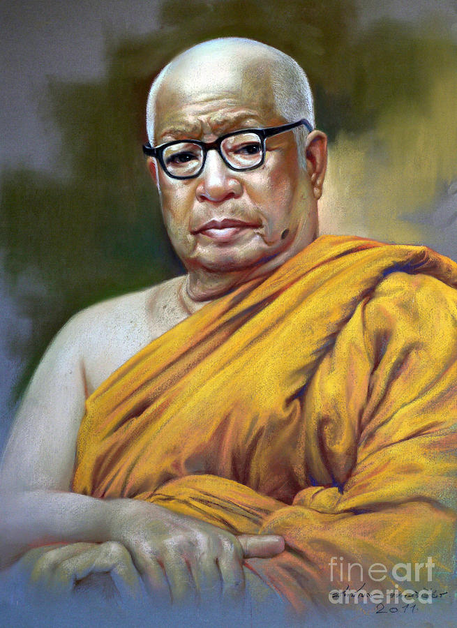 Pastel Painting - Bhudhathas Bhikku by Chonkhet Phanwichien