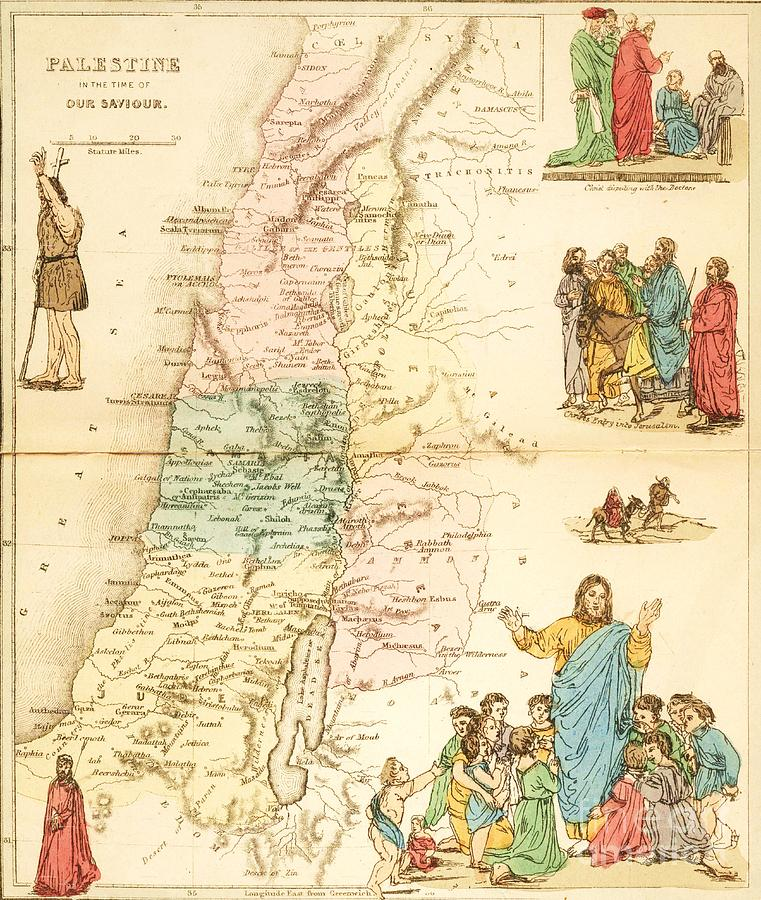 Reproduction Painting - Biblical Map Palestine by Pg Reproductions