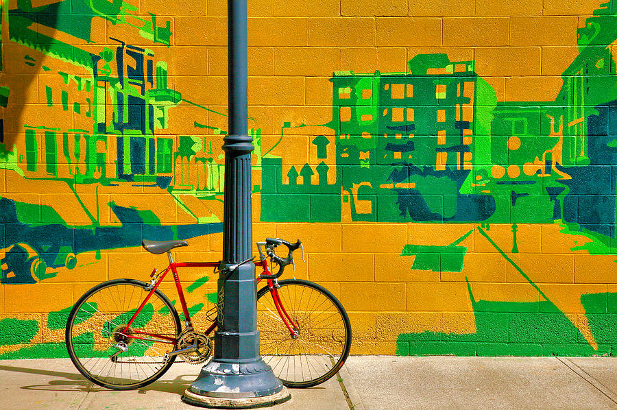 Bike Photograph - Bicycle And Mural by Steven Ainsworth