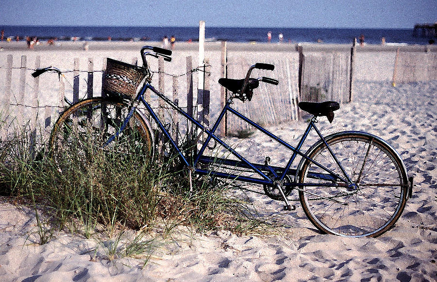 Tandem Photograph - Bicycle Built For Two On A Beach by Ercole Gaudioso