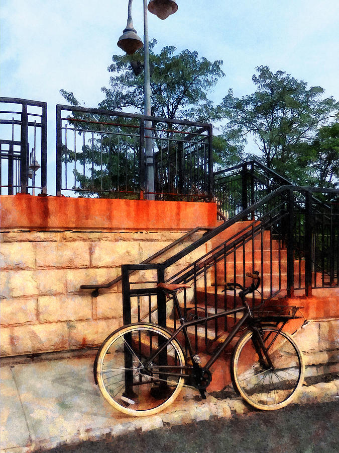 Bicycle Photograph - Bicycle By Train Station by Susan Savad