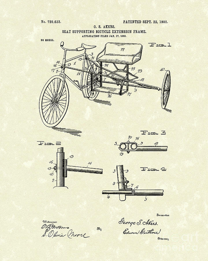 Akers Drawing - Bicycle Extension Frame 1903 Patent Art by Prior Art Design