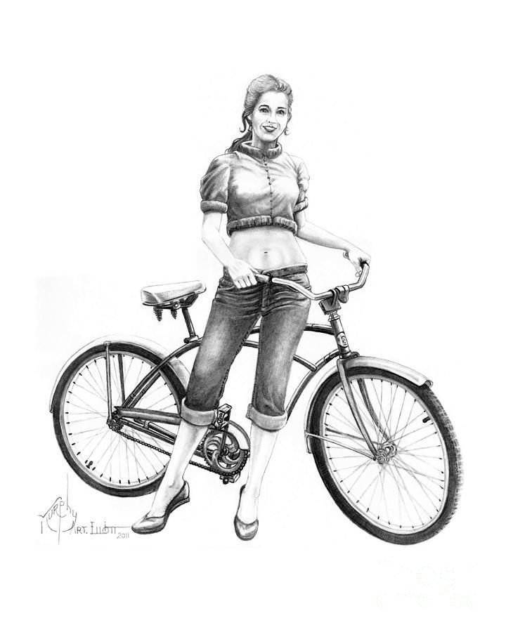 Bicycle Girl Drawing By Murphy Elliott