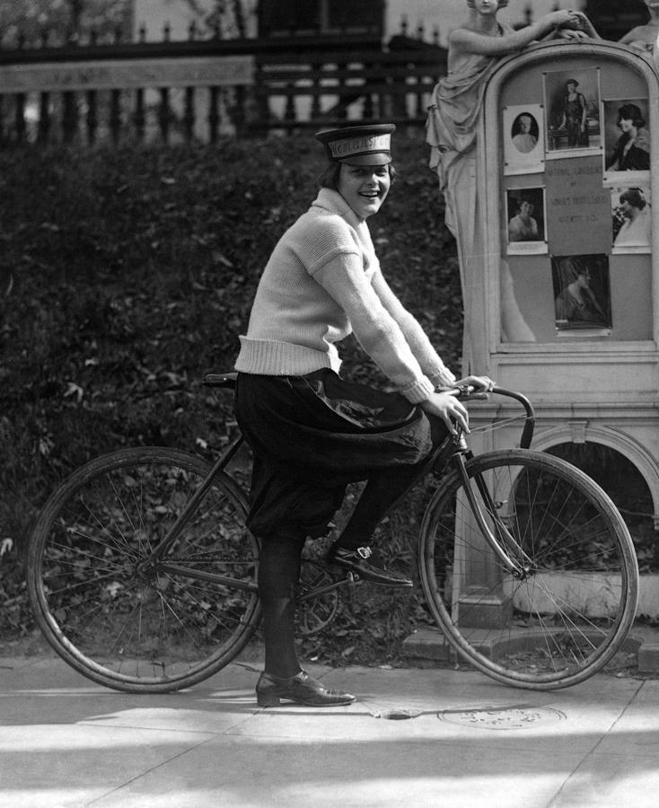 1920s Photograph - Bicycle. Julia Obear, Bike Messenger by Everett