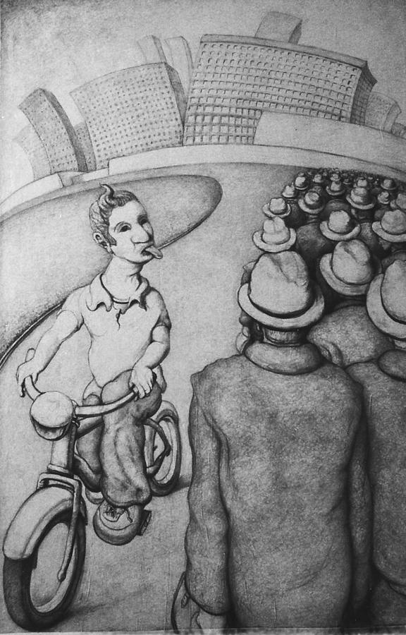 Louis Gleason Drawing - Bicyclist by Louis Gleason