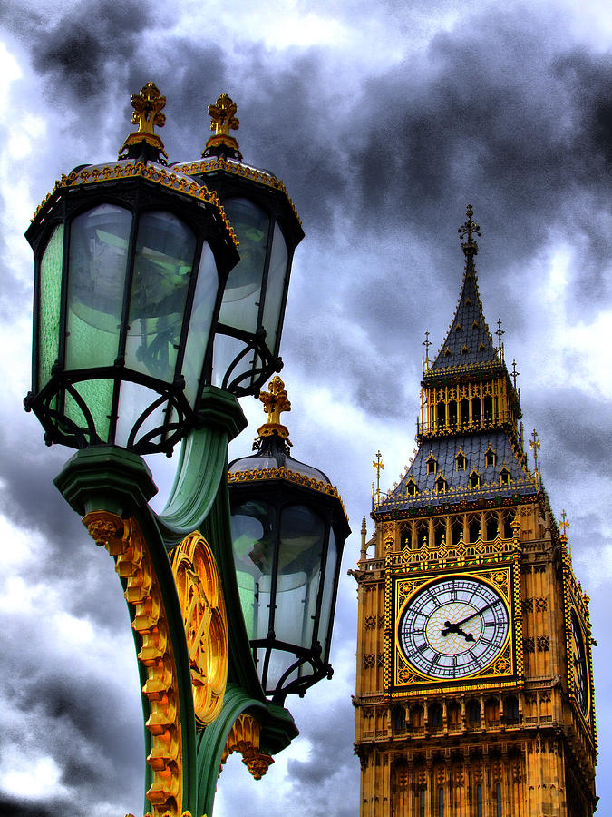 Big Ben Photograph - Big Ben And Lamp - Hdr by Colin J Williams Photography