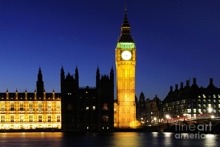 River Photograph - Big Ben At Night by Liz Pinchen