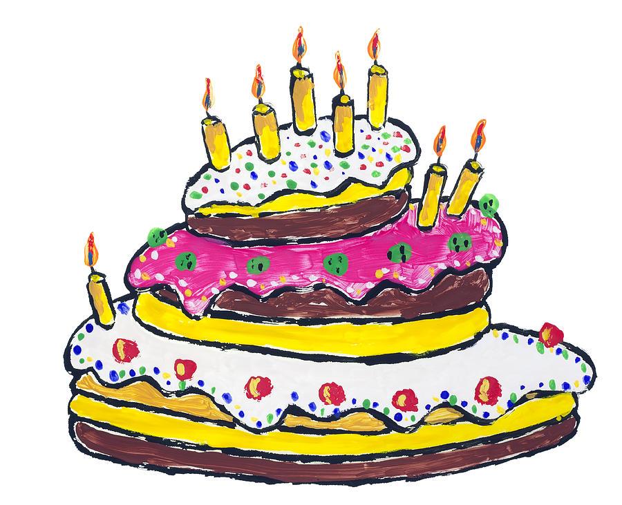 Incredible Big Birthday Cake Drawing By Aleksandr Volkov Funny Birthday Cards Online Alyptdamsfinfo