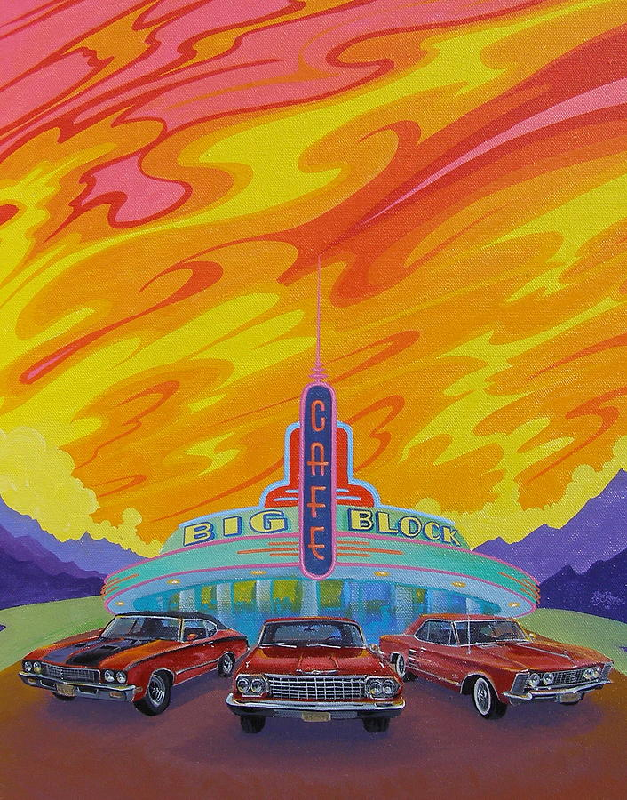 Hot Rods Painting - Big Block Cafe by Alan Johnson