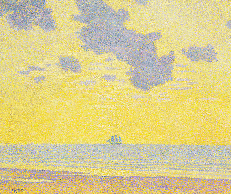 Seascape Painting - Big Clouds by Theo van Rysselberghe