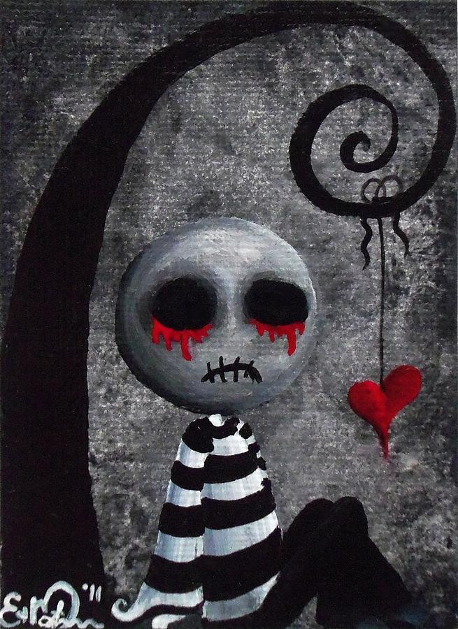 Lowbrow Painting - Big Juicy Tears Of Blood And Pain 2 by Oddball Art Co by Lizzy Love