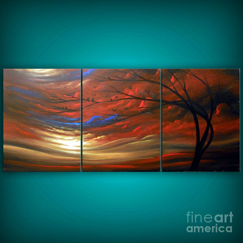 Big large red landscape painting painting by matthew hamblen for Large artwork for sale