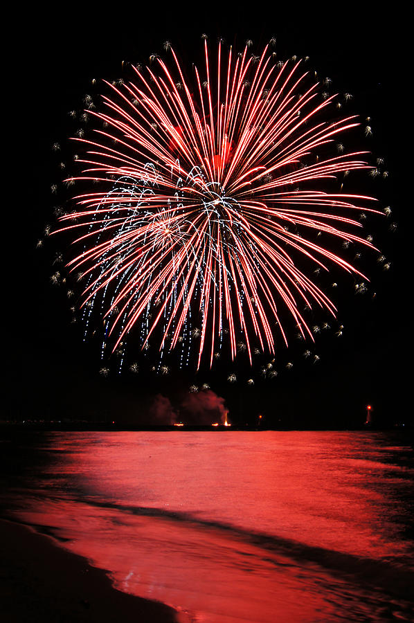 Fireworks Photograph - Big Red by Bill Pevlor