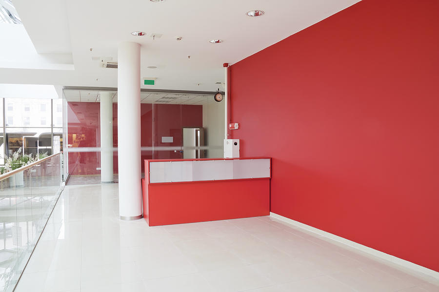 Big Red Wall At Modern Office Photograph By Aleksandr Volkov