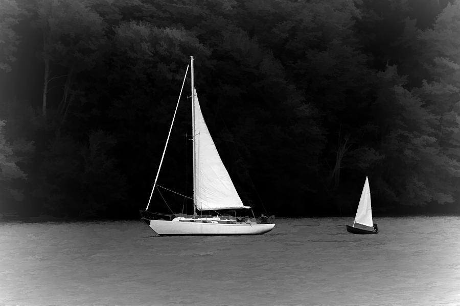 Sailboats Painting - Big Sailboat Little Sailboat by Tracie Kaska