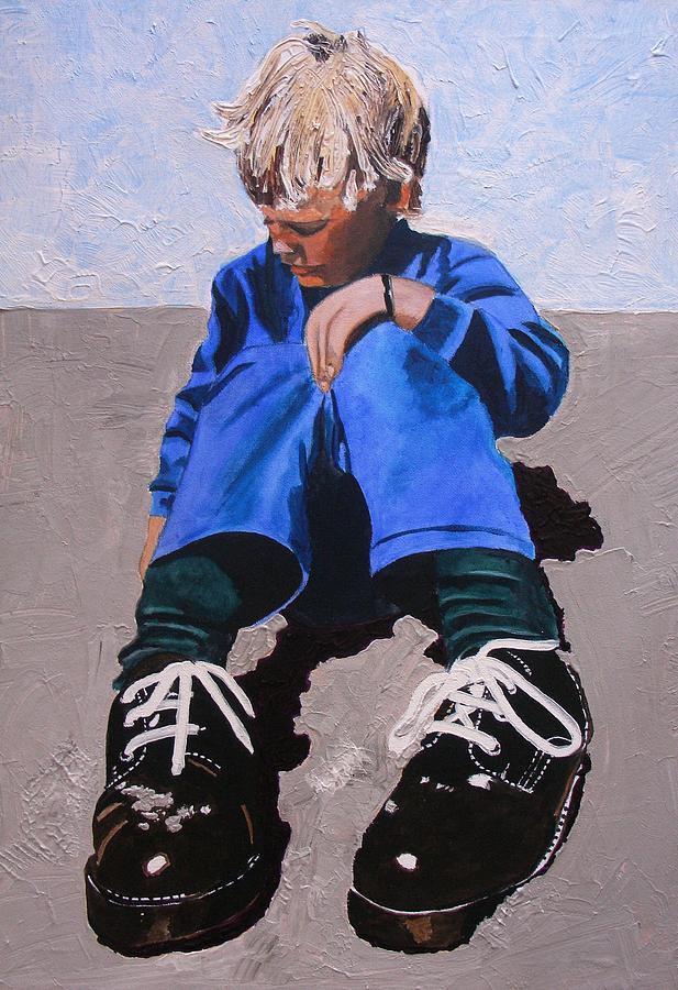 Children Painting - Big Shoes by Jacqui Simpson