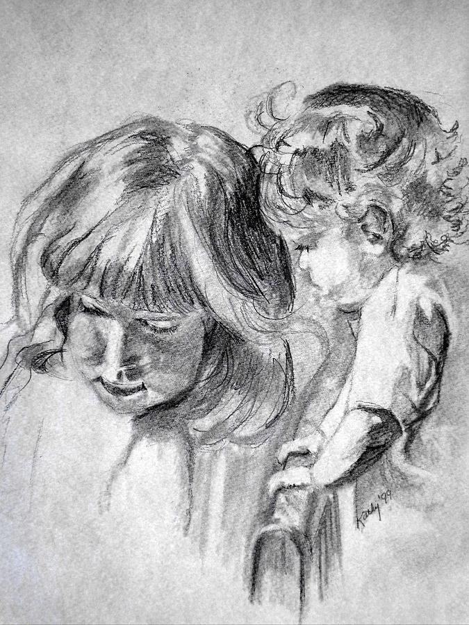 Portraits Drawing - Big Sis by Kathy Etoll-Throckmorton